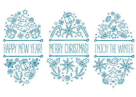 Hand drawn christmas badge emblem with text. Happy new year. Merry christmas. Engoy the winter. Can be used in business advertising, banners. Winter holiday decoration. Snow, candy cane, cone, star Иллюстрация