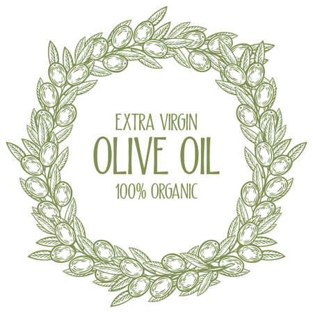 Olive laurel wreath and branch hand drawn vector illustration. Leave and berry round frame isolated on white background. Extra vigrin olive oil emblem, logo.