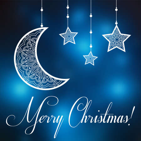 Merry Christmas background with ornamental moon and stars. Greeting card, invitation for Catholic community holy day on blurred. Merry Christmas Vector illustration Иллюстрация
