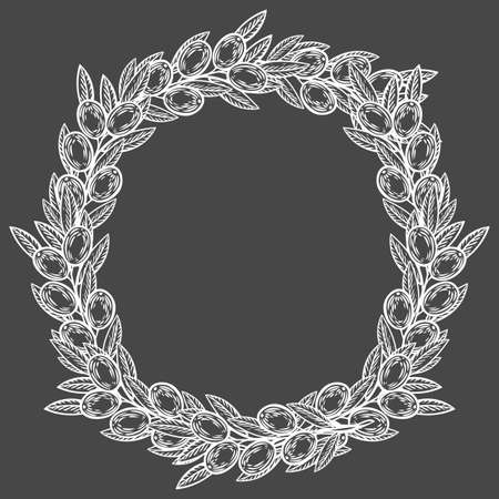 Olive laurel wreath and branch hand drawn vector illustration. Leave and berry round frame isolated on black background. Иллюстрация