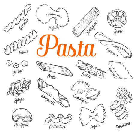 Hand drawn Italian pasta set. Collection of different types of pasta. Retro line art vector illustration. Gluten Food from wheat, flour. Иллюстрация