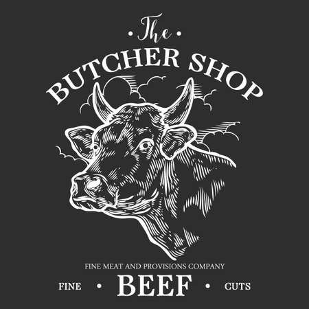 Cow head, Fresh beef organic meat. Hand drawn sketch in a graphic style. Vintage vector engraving illustration for poster, web. Isolated on black background Иллюстрация