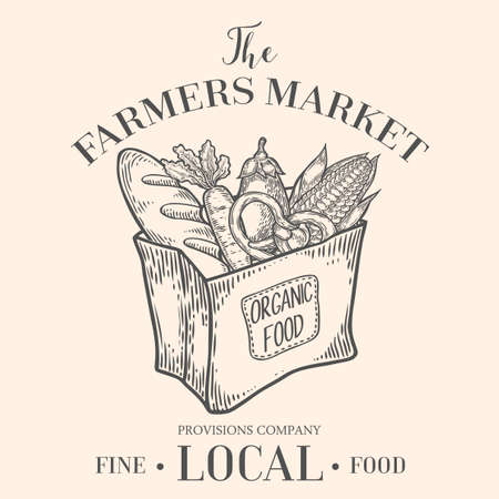 Farmers market emblem with paper food package. Monochrome medieval set vintage engraving sign isolated on white background. Sketch vector hand drawn illustration. Locally grown, fresh food retro style Иллюстрация