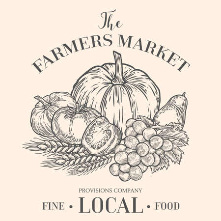 Farmers market emblem with fruits vegetables. Monochrome medieval set vintage engraving sign isolated on white background. Sketch vector hand drawn illustration. Locally grown, fresh food retro style.