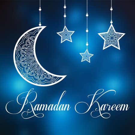 Ramadan Kareem background with ornamental moon and stars. Greeting card, invitation for muslim community holy month on blurred. Ramadan Kareem Vector illustration Иллюстрация