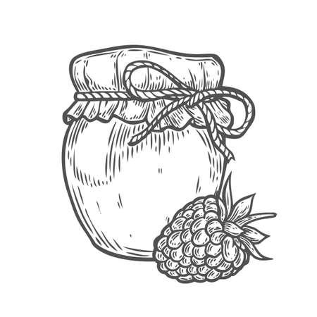 Raspberry jam jar Ink hand drawn vector illustration. Harvest autumn illustration. Engraved organic food sketch illustration. Black isolated on white background.
