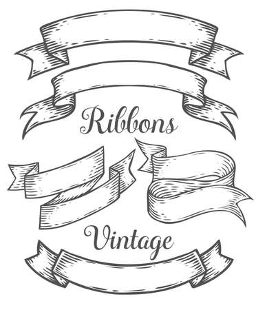 Ribbon retro vintage hand drawn illustration vector set. Sketch banners, old school style. For decoration, scrapbook and web, mobile design. White black isolated.