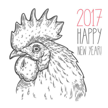 Hand drawn rooster cock head vector illustration. Farm animals, Vintage engraving style. Sketch chicken portrait isolated on white background. Symbol of new year 2017 Фото со стока - 68407894