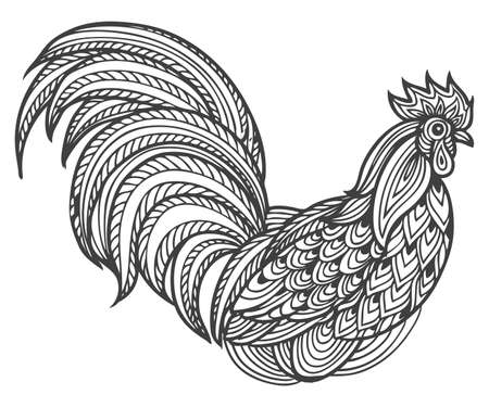 Hand drawn patterned ornament rooster cock head vector illustration. Farm animals, Vintage engraving style. Sketch chicken portrait isolated on white background. Symbol of new year 2017