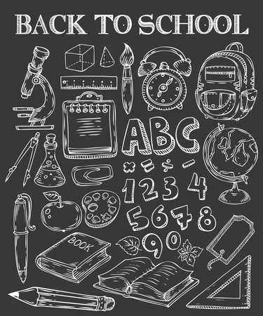 Back to School hand drawn doodle set. School stuff supplies for art, reading, writing, science, geography, biology, physics, mathematics, astronomy, chemistry. Vector isolated on black background