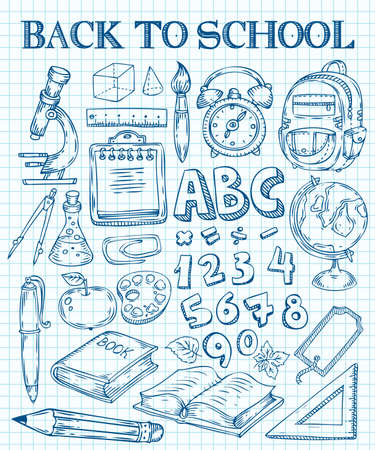 Back to School hand drawn doodle set. School stuff supplies for art, reading, writing, science, geography, biology, physics, mathematics, astronomy, chemistry. Vector isolated on white background