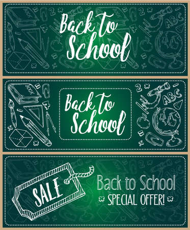 Back to school chalkboard three vector banner set with the hand drawn illustrations. Special offer, Sale emblems. Фото со стока - 68407910