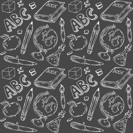 Seamless vector pattern of school objects hand drawn illustration. Endless texture for printing to fabric, web page background or invitation. Abstract retro nautical style. White, black colors. Иллюстрация