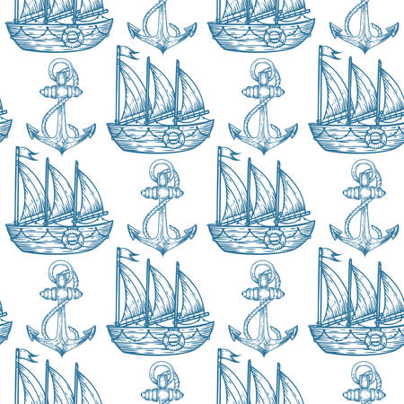 Seamless vector pattern of anchor and sailboat hand drawn illustration. Endless texture for printing to fabric, web page background or invitation. Abstract retro nautical style. White, blue colors.