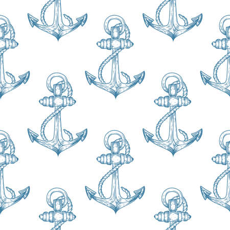 Seamless vector pattern of anchor hand drawn illustration. Endless texture for printing to fabric, web page background or invitation. Abstract retro nautical style. White, blue colors.