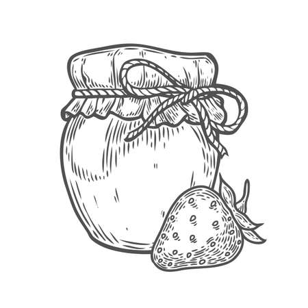 Strawberry jam jar Ink hand drawn vector illustration. Harvest autumn illustration. Engraved organic food sketch illustration. Black isolated on white background. Фото со стока - 68407953