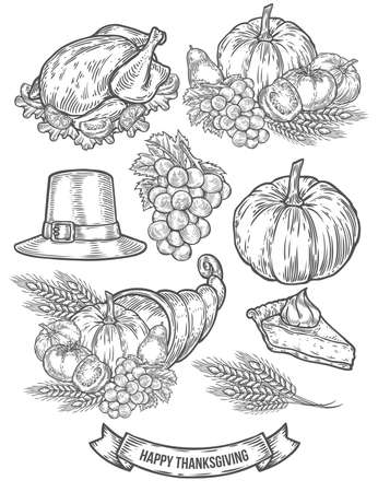 Thanksgiving autumn festival doodle set. Monochrome vintage engraving fresh organic vegetables, wheat and fruits, hat, pie, turkey sign isolated on white. Sketch vector hand drawn illustration