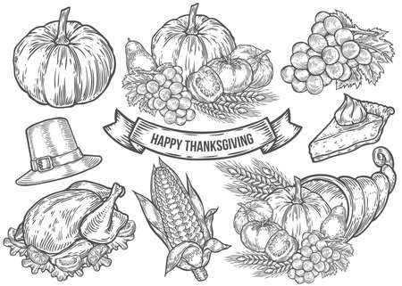 Thanksgiving autumn festival doodle set. Monochrome vintage engraving fresh organic vegetables, wheat and fruits, hat, pie, corn, turkey sign isolated on white. Sketch vector hand drawn illustration