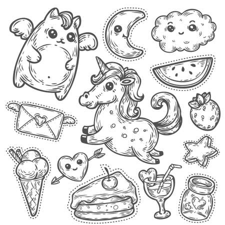 Fashion patch badges with unicorn, heart, cat, star, dessert and other elements for girls. Vector hand drawn illustration isolated on white. Set of stickers, pins, patches in cartoon comic style. Фото со стока - 68407963