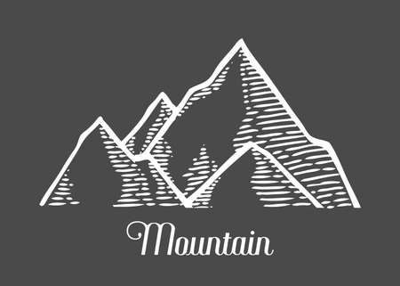 Mountain hand drawn sketch vector illustration in engraving style. Retro vintage doodle, isolated on black. Highlands drawing