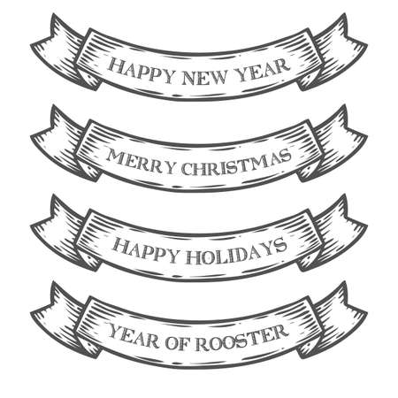 New Year 2017, Merry Christmas, Happy holidays, Year of Rooster emblem ribbon. Monochrome medieval set vintage engraving sign isolated on white. Sketch vector hand drawn illustration retro style Иллюстрация