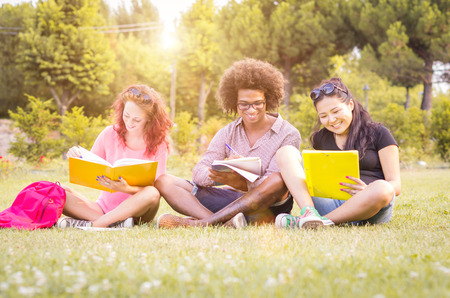 day book: three students studying and laughing in the park - people, lifestyle and nature concept