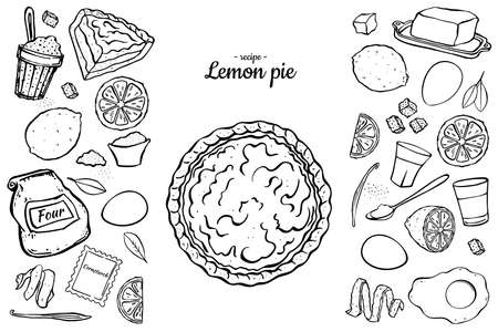 fresh sweet lemon pie black outline isolated on white background recipe cook book Vektoros illusztráció