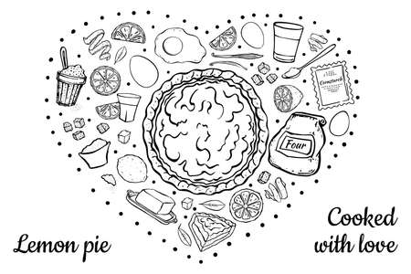 fresh sweet lemon pie black outline isolated on white recipe in the shape of a heart  イラスト・ベクター素材