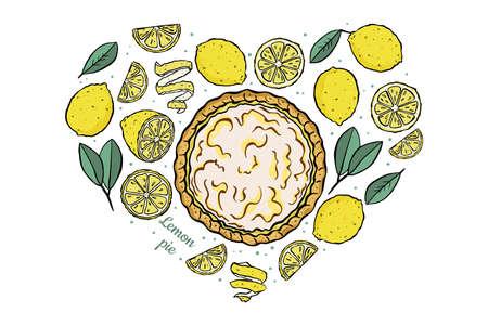 love fresh lemons and open lemon pie set isolated on white background