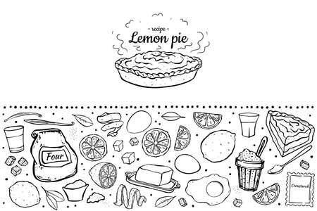 fresh sweet lemon pie black outline isolated on white background recipe cook book