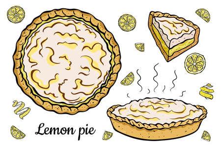 vista dall'alto, laterale, fetta di torta al limone fresca isolata su sfondo bianco