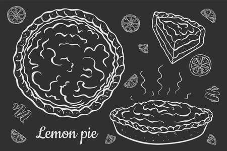 Fresh open lemon pie isolated on black and white outline