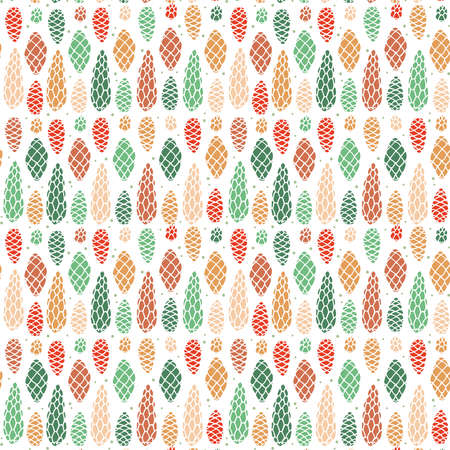 Seamless pattern with the image of fir cones  イラスト・ベクター素材