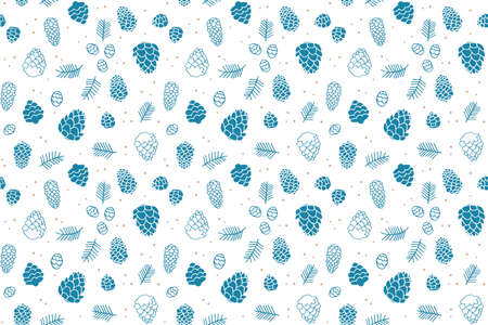 Seamless pattern with the image of fir cones and branches