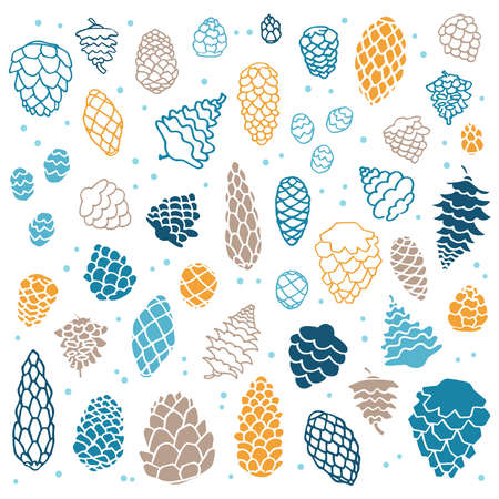 Collection of simple fir cone illustrations on white background Vetores