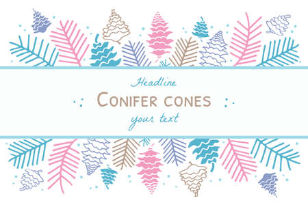 Illustration template with fir cones and branches. 向量圖像