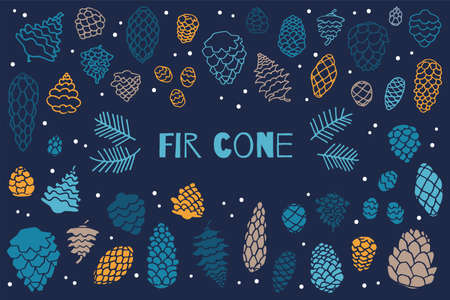 Collection illustration simple fir cones on dark background