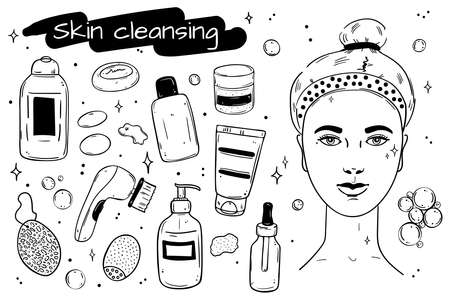 A collection of facial cleansers. Black outline objectson white background.