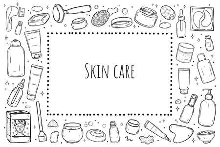 A set of items for skin care. Rectangle frame. Black outline isolated on white background.