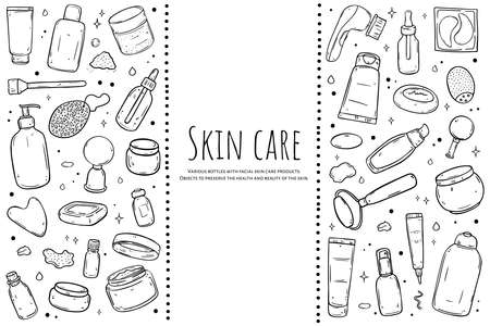 A set of items for skin care. Black outline isolated on white background.