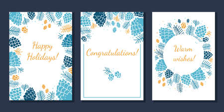 Set of greeting cards with design of fir cones and branches 向量圖像