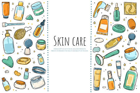 A set of items for skin care. Color illustration isolated on white background. 写真素材 - 142390751
