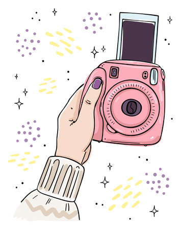 Illustration hand holds instant camera. The picture goes out of the camera.