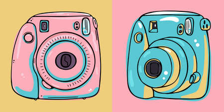Illustration of two different types of instant print cameras.