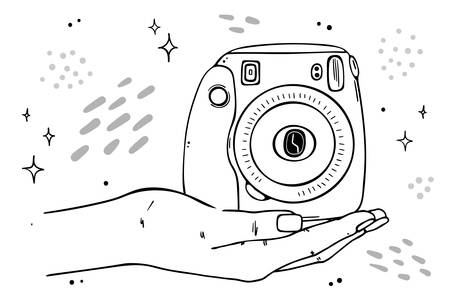 Illustration instant camera lies on the palm of your hand.
