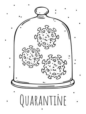 Illustration of a virus under a glass bell. Quarantine. Monochrome image on a white background.