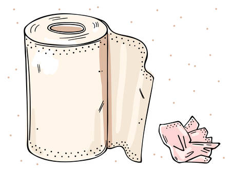 Illustration of a roll of paper towels and a used napkin. Color image on a white background.