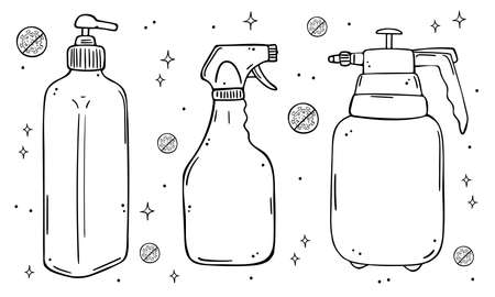 Illustration set of dispensers and sprays for soap or disinfectant. Monochrome image on a white background. Illustration