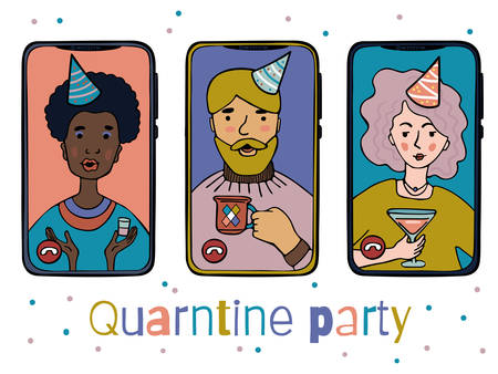 Illustration of people at an online quarantine party on phones. Colored characters on a white background.