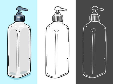 Dispenser for cosmetics. Suitable for sanitizer, liquid soap, shower gel. Three color schemes. Illustration